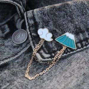 Mountain High Enamel Pins with Chain